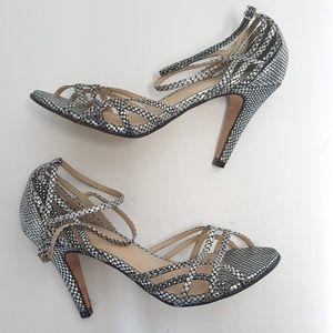 Rebecca Minkoff metallic strappy heels Sz 8